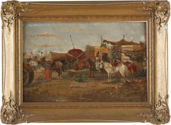 VIORSKY Tätig 1. Hälfte 20. Jahrhundert Zwei Genreszenen mit Kosaken: Bei der Dressur (1); Auf dem Markt (2) - photo 2