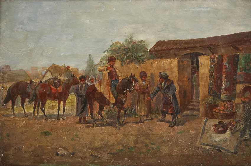 VIORSKY Tätig 1. Hälfte 20. Jahrhundert Zwei Genreszenen mit Kosaken: Bei der Dressur (1); Auf dem Markt (2) - photo 3