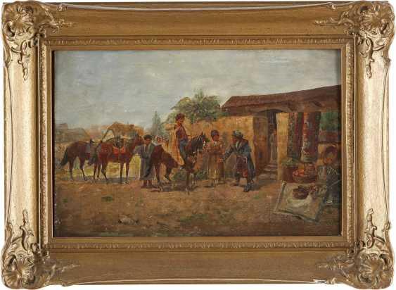VIORSKY Tätig 1. Hälfte 20. Jahrhundert Zwei Genreszenen mit Kosaken: Bei der Dressur (1); Auf dem Markt (2) - photo 4