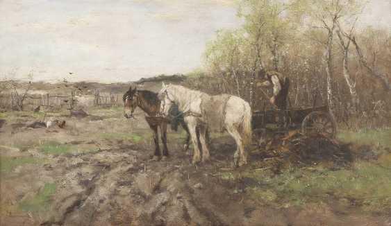 ALFRED VON WIERUSZ-KOWALSKI (UMKREIS) 1849 Suwalki - 1915 München Bauer mit Pferdegespann bei der Feldarbeit - фото 1