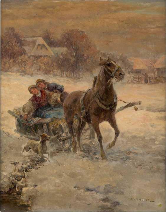 POLNISCHER MEISTER um 1900 Romantische Kutschfahrt im Schnee - photo 1