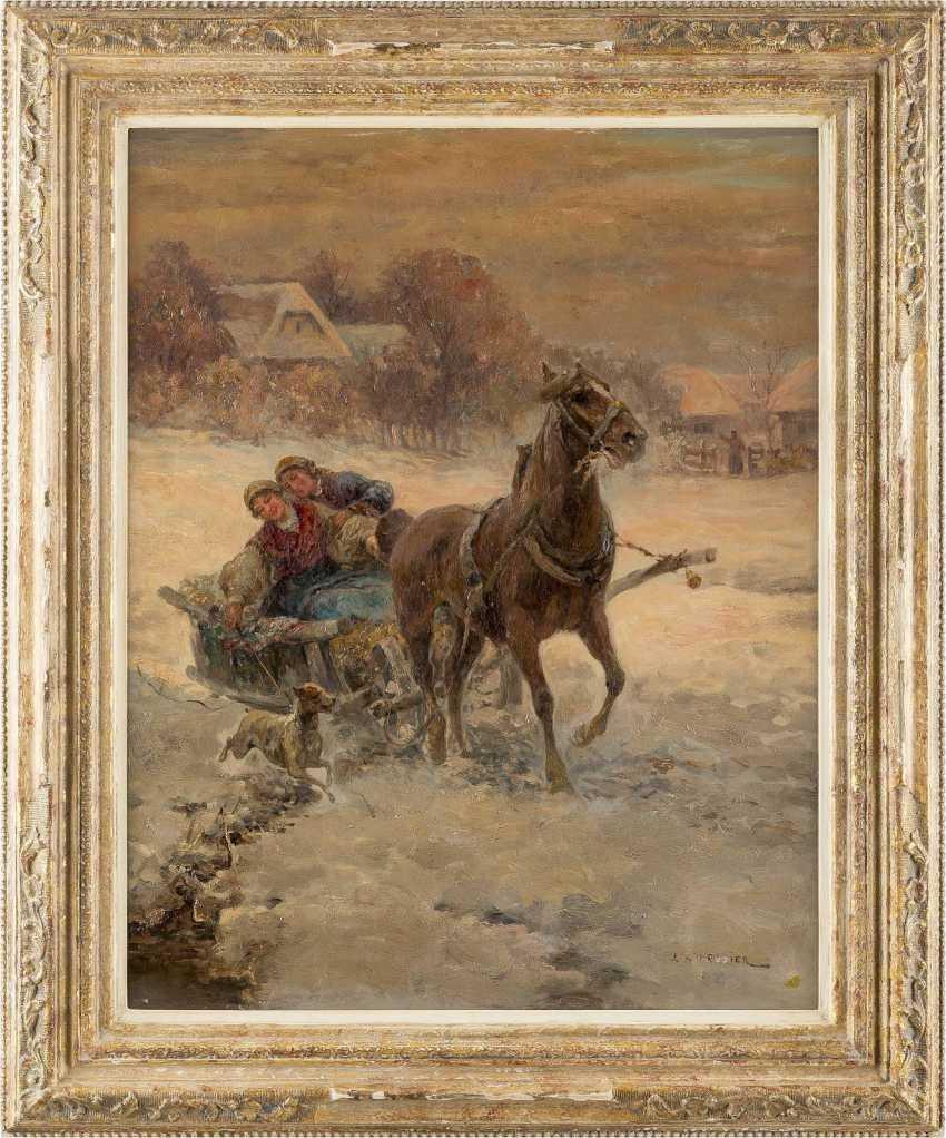 POLNISCHER MEISTER um 1900 Romantische Kutschfahrt im Schnee - photo 2