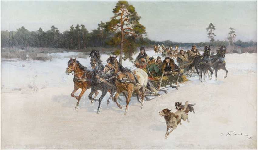 IGNACY ZYGMUNTOWICZ ('CZESLAW WASILEWSKI') c. 1875 - 1947 Troika in verschneiter Landschaft - photo 1