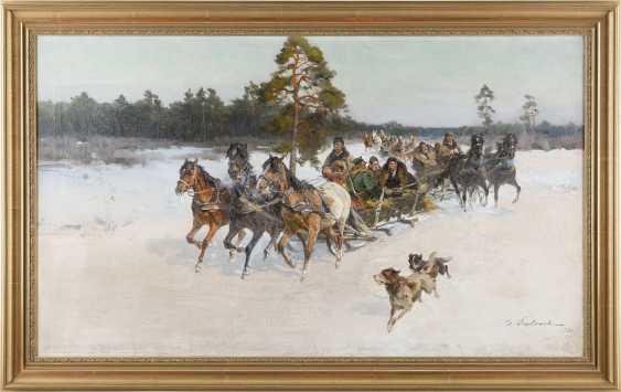 IGNACY ZYGMUNTOWICZ ('CZESLAW WASILEWSKI') c. 1875 - 1947 Troika in verschneiter Landschaft - photo 2