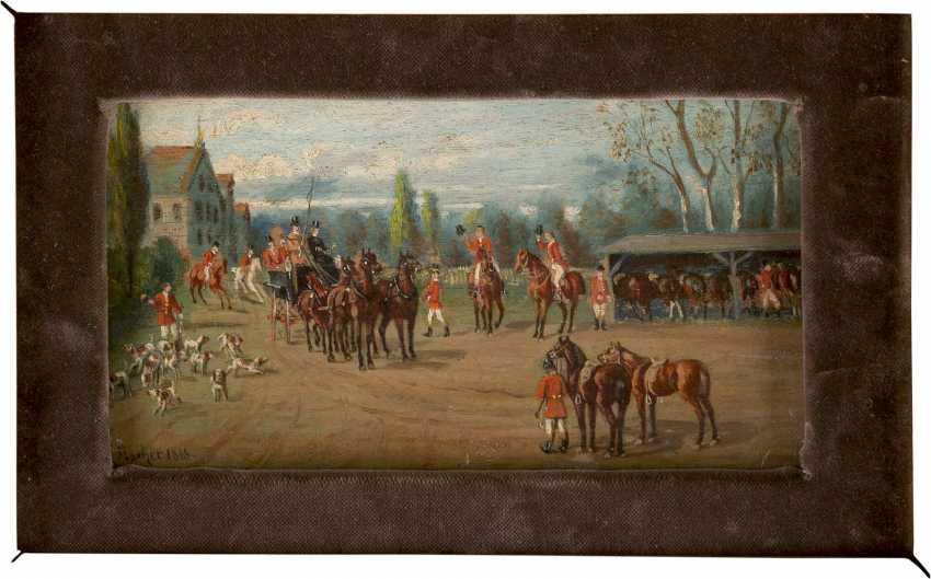 TH FISCHER Tätig um 1900 (wohl Österreich/Bayern) Zwei Fuchsjagd-Szenen: Heimkehr der Jagdgesellschaft (1), Im Zweispänner vor Jagdschlösschen (2) - photo 1