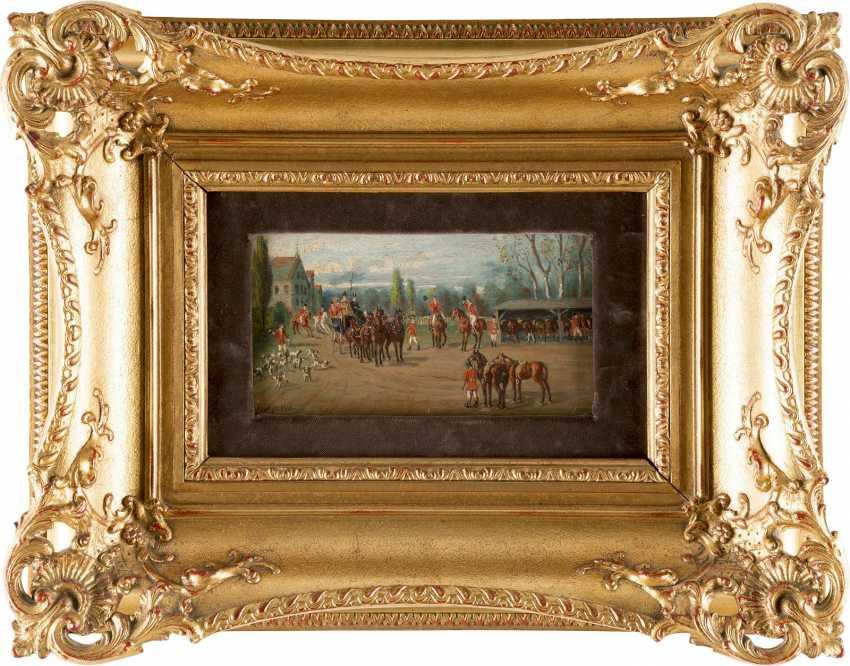 TH FISCHER Tätig um 1900 (wohl Österreich/Bayern) Zwei Fuchsjagd-Szenen: Heimkehr der Jagdgesellschaft (1), Im Zweispänner vor Jagdschlösschen (2) - photo 2