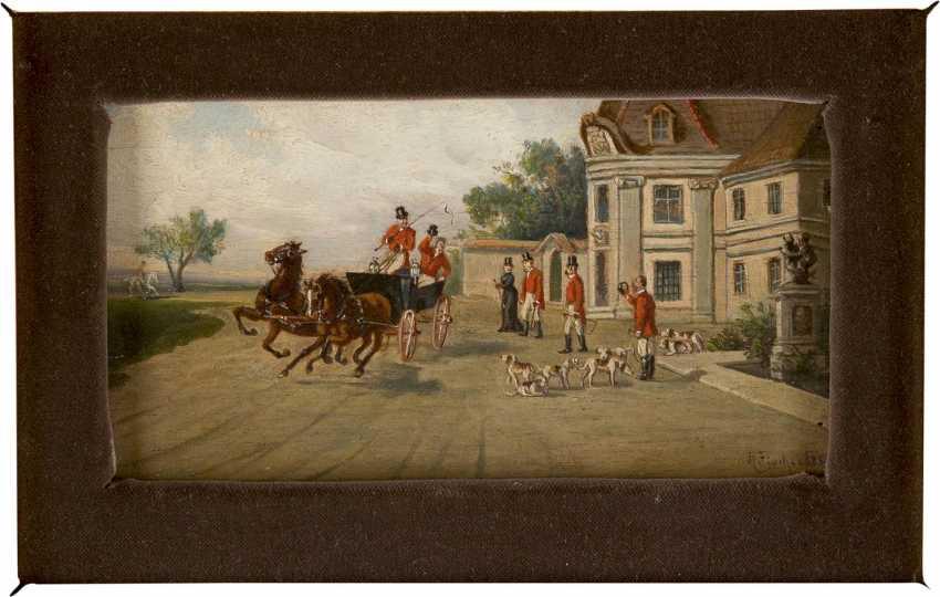 TH FISCHER Tätig um 1900 (wohl Österreich/Bayern) Zwei Fuchsjagd-Szenen: Heimkehr der Jagdgesellschaft (1), Im Zweispänner vor Jagdschlösschen (2) - photo 3