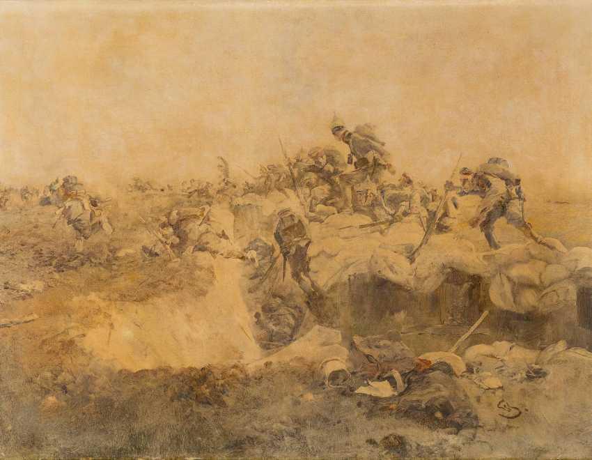 WILHELM SCHREUER 1866 Wesel - 1933 Düsseldorf Angriff aus dem Schützengraben - photo 1