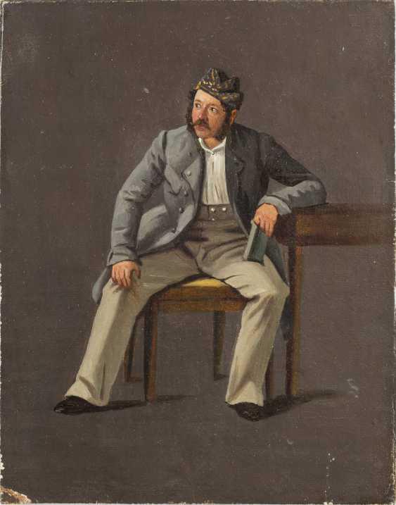 ÖSTERREICHISCHER FIGURENMALER Tätig Mitte 19. Jahrhundert Figurenstudie eines Herren am Tisch - photo 1