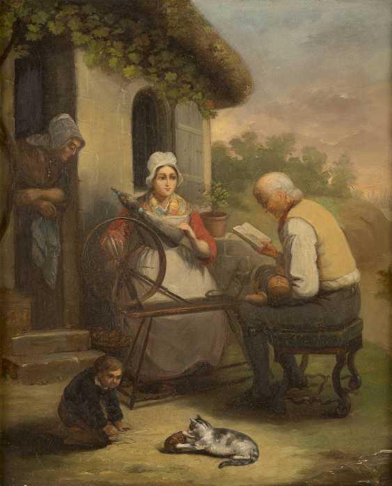 DEUTSCHER GENREMALER Tätig Mitte 19. Jahrhundert Familie beim Flachsspinnen - photo 1