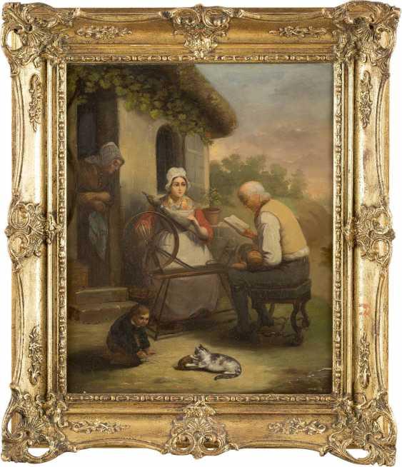 DEUTSCHER GENREMALER Tätig Mitte 19. Jahrhundert Familie beim Flachsspinnen - photo 2