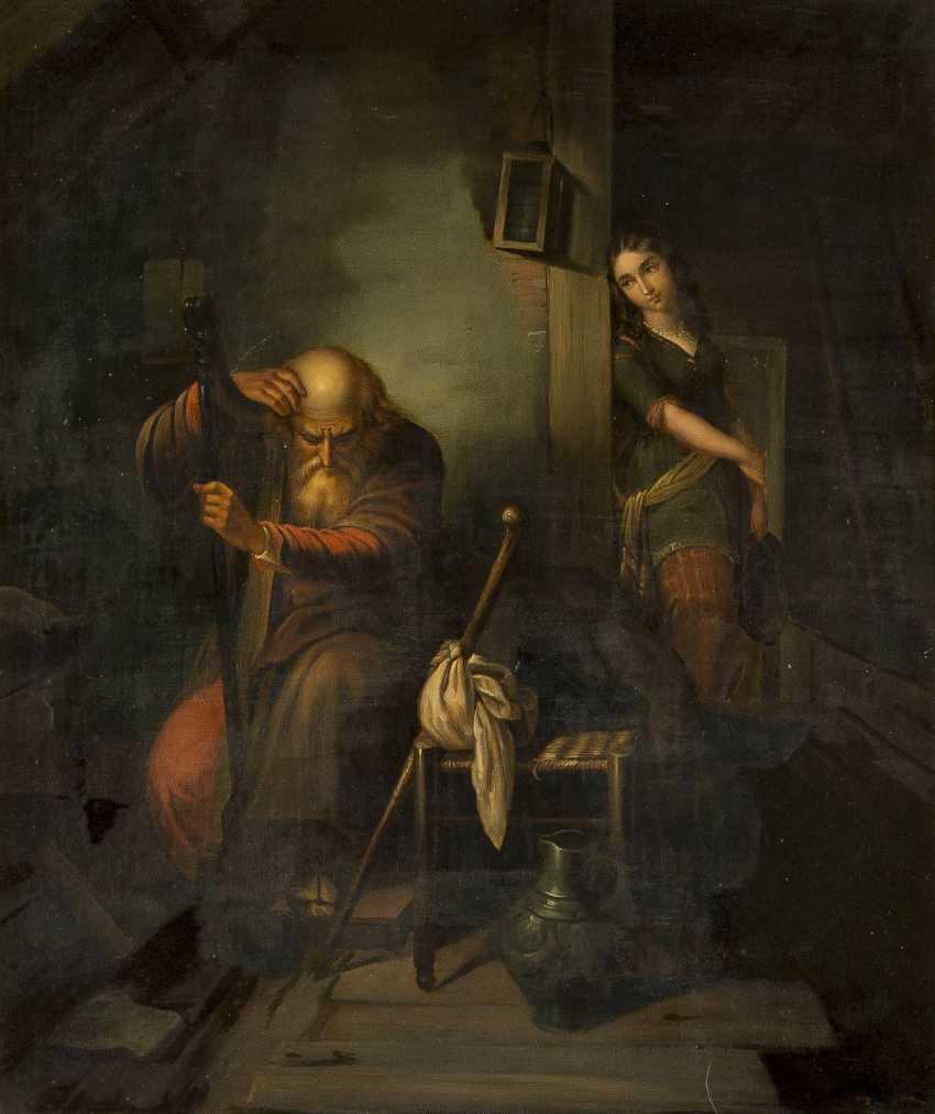 DEUTSCHER GENREMALER Tätig Mitte 19. Jahrhundert Harfespieler mit lauschendem Mädchen - photo 1