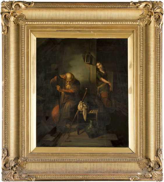 DEUTSCHER GENREMALER Tätig Mitte 19. Jahrhundert Harfespieler mit lauschendem Mädchen - photo 2
