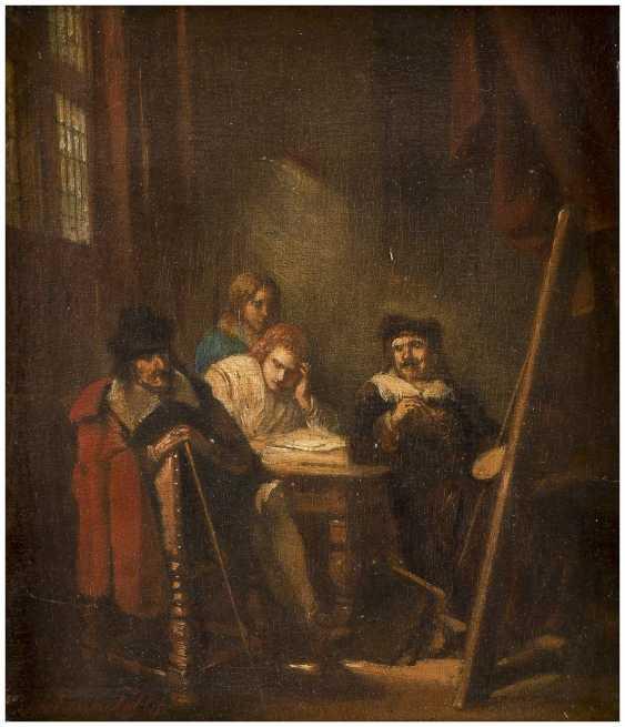 NIEDERLÄNDISCHER GENREMALER Tätig 1. Hälfte 19. Jahrhundert Im Künstleratelier - photo 1