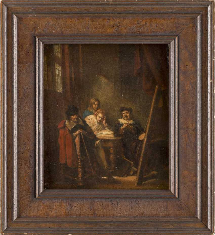 NIEDERLÄNDISCHER GENREMALER Tätig 1. Hälfte 19. Jahrhundert Im Künstleratelier - photo 2
