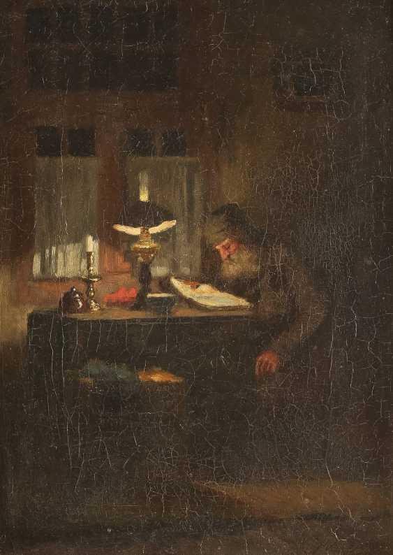 JOHANNES WEILAND 1856 Vlaardingen - 1909 Den Haag Lesender in der Stube - photo 1