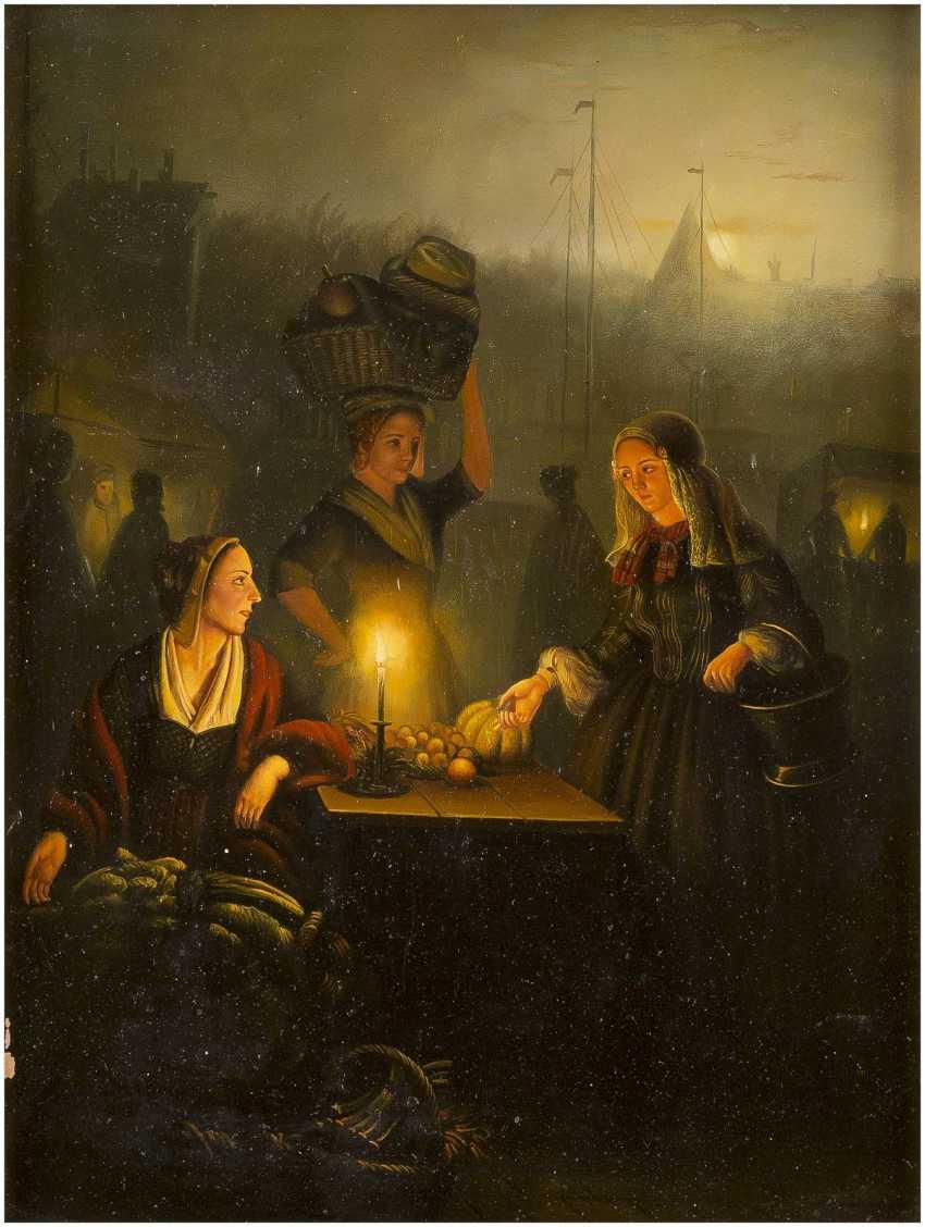 PETRUS VAN SCHENDEL (KOPIE NACH) 1806 Terheijden - 1870 Brüssel Erwerb von Obst und Gemüse auf dem Nachtmarkt - photo 1