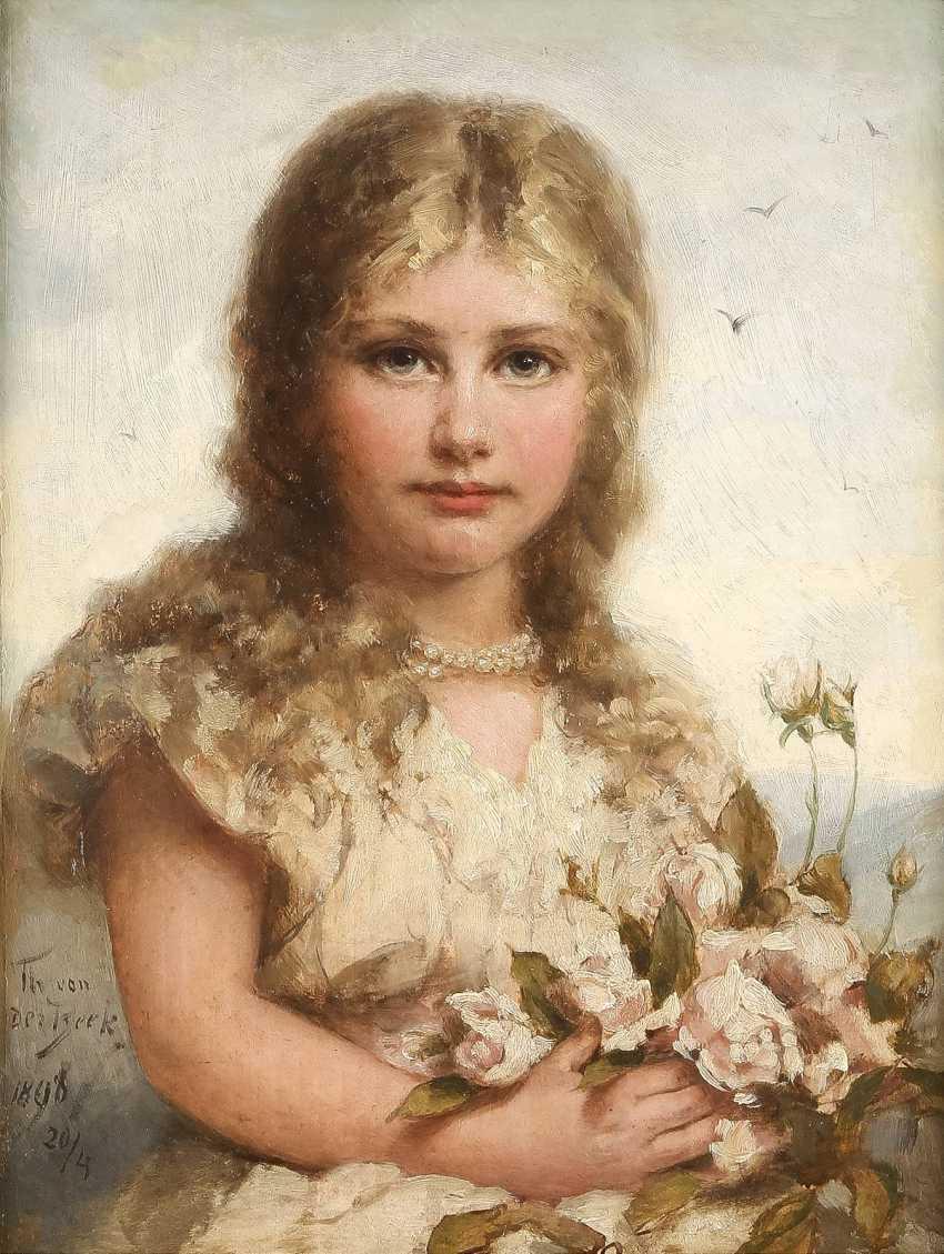 THEODOR VON DER BEEK 1838 Kaiserswerth - 1921 Düsseldorf Junges Mädchen mit Wildrosen - photo 1