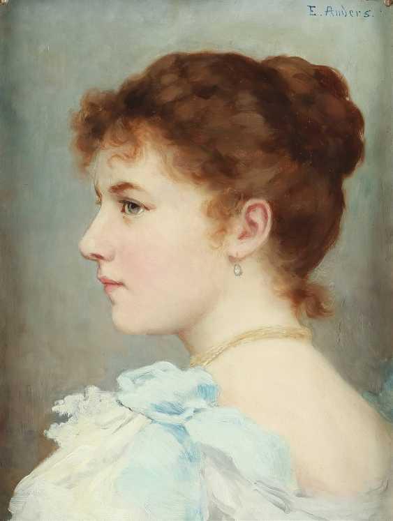 ERNST ANDERS 1845 Magdeburg - 1911 Mölln Porträt einer jungen Dame - photo 1