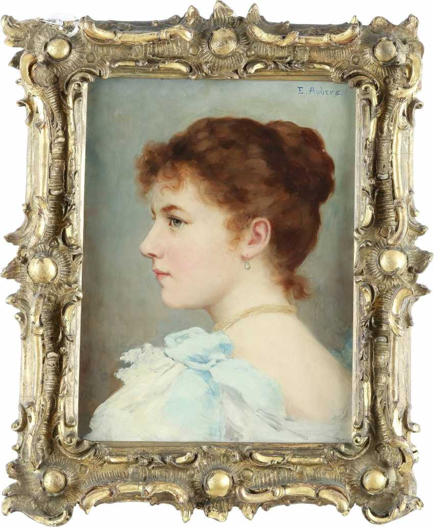 ERNST ANDERS 1845 Magdeburg - 1911 Mölln Porträt einer jungen Dame - photo 2
