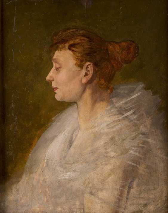 FRANZÖSISCHER PORTRÄTMALER Tätig um 1900 Feines Damenporträt im Profil - photo 1