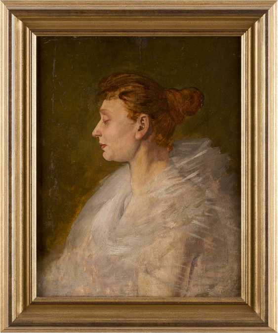 FRANZÖSISCHER PORTRÄTMALER Tätig um 1900 Feines Damenporträt im Profil - photo 2