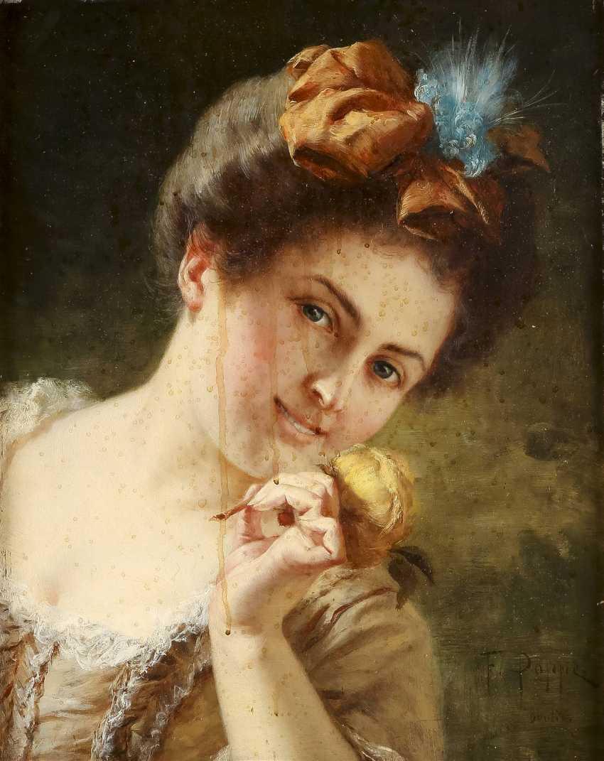 FEDOR POPPE 1850 Neisse - wohl 1914 (tätig in Berlin) Porträt einer jungen Dame - photo 1