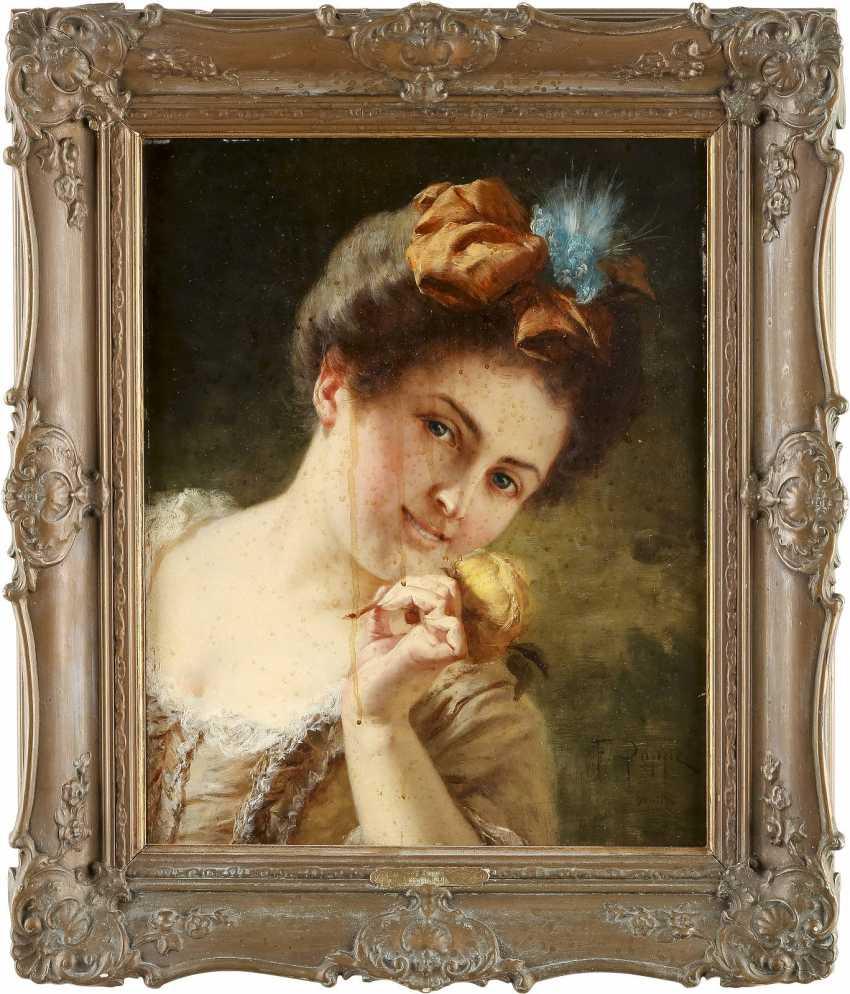 FEDOR POPPE 1850 Neisse - wohl 1914 (tätig in Berlin) Porträt einer jungen Dame - photo 2