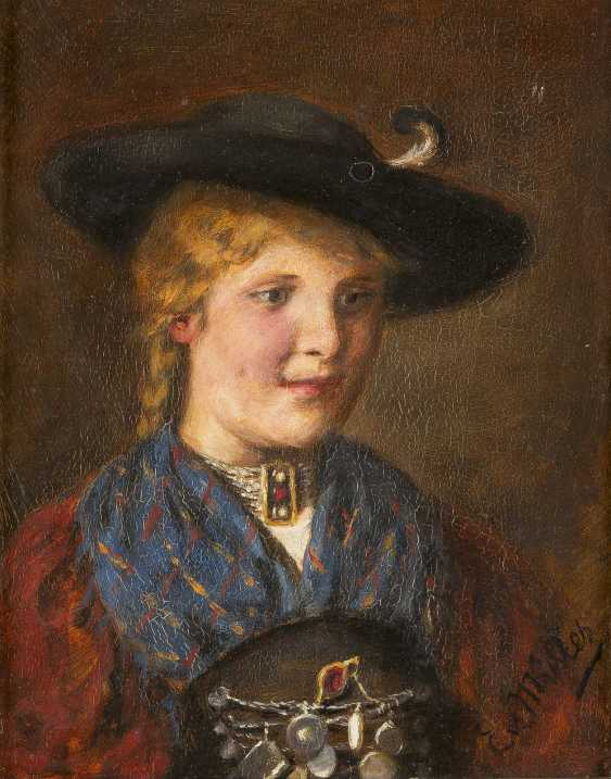 EMMA VON MÜLLER (EDLE VON SEEHOF) 1859-1925 PORTRÄT EINER JUNGEN FRAU IN TRACHT - photo 1