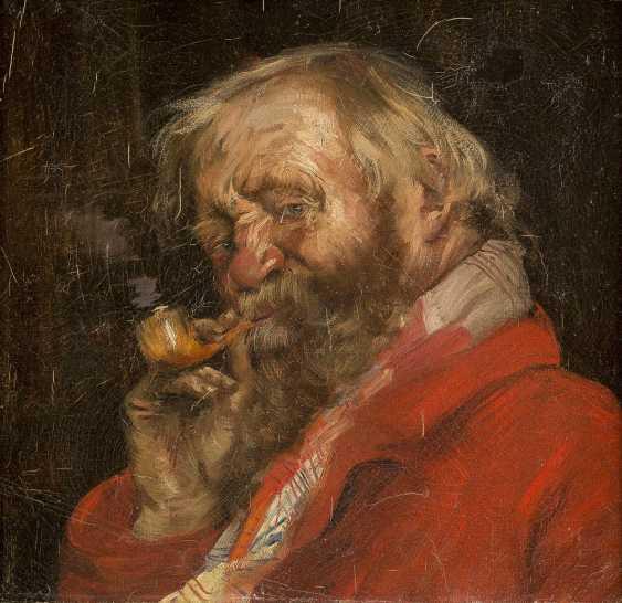 RUSSISCHER MEISTER Tätig um 1900 Porträt eines bärtigen Mannes mit Pfeife - photo 1