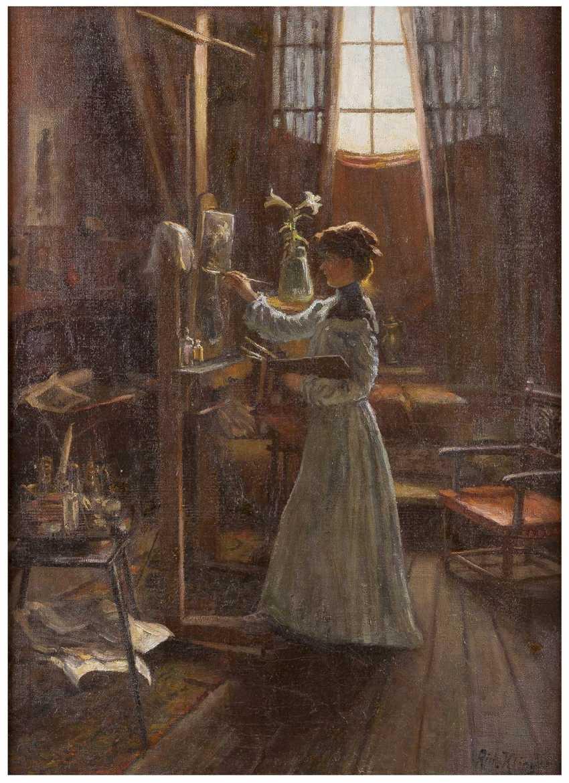 RICHARD KLINGEN 1873 Düsseldorf - 1924 ebenda Künstlerin im Atelier - photo 1