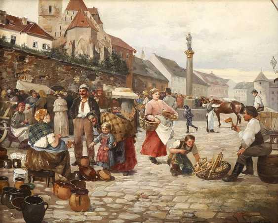 JOHANN HAMZA 1850 Teltsch (Mähren) - 1927 Wien Der Markplatz in Breclav (Lundenburg), Mähren - photo 1