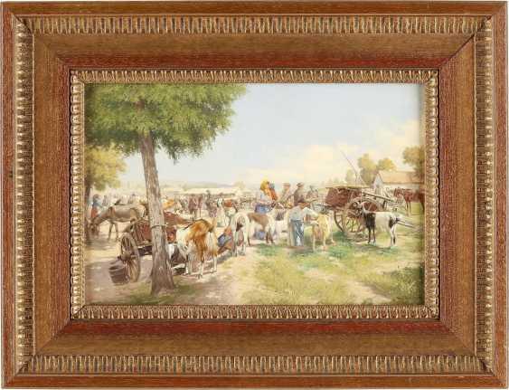 HERMANN REISZ 1865 Neuhäusel - um 1920 (tätig u.a. in Wien) Viehmarkt - photo 2