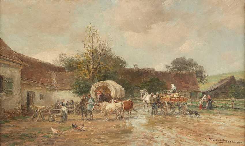 KARL STUHLMÜLLER 1859-1930 LÄNDLICHER GASTHOF MIT RASTENDEN, OCHSEN UND FUHRWERKEN - photo 1