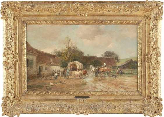 KARL STUHLMÜLLER 1859-1930 LÄNDLICHER GASTHOF MIT RASTENDEN, OCHSEN UND FUHRWERKEN - photo 2