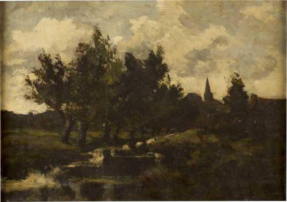DÜSSELDORFER SCHULE um 1900 Rheinische Landschaft mit Bachlauf - photo 1
