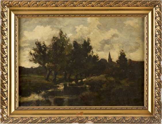 DÜSSELDORFER SCHULE um 1900 Rheinische Landschaft mit Bachlauf - photo 2