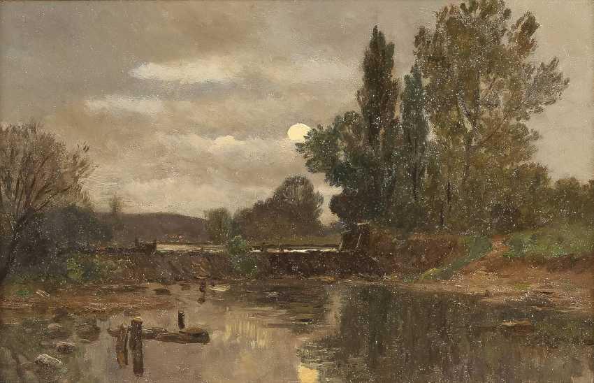 GILBERT VON CANAL 1849 - 1927 Mond über Flusslandschaft - photo 1