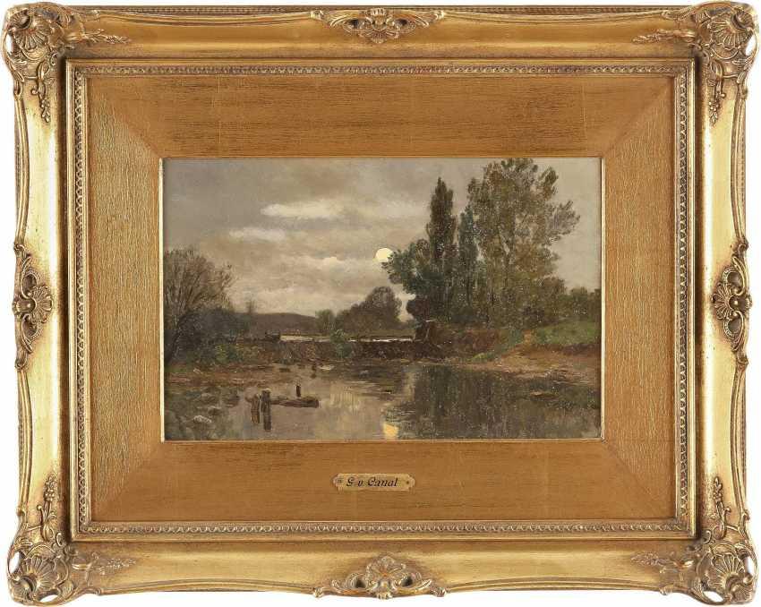 GILBERT VON CANAL 1849 - 1927 Mond über Flusslandschaft - photo 2