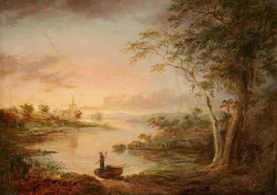 J. SICKERT Tätig 2. Hälfte 19. Jahrhundert Romantische Flusslandschaft im Morgenrot - photo 1
