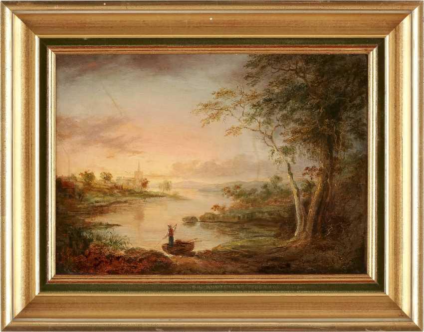 J. SICKERT Tätig 2. Hälfte 19. Jahrhundert Romantische Flusslandschaft im Morgenrot - photo 2