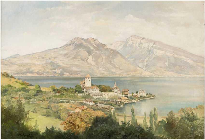 ALBERT HERTEL 1843 Berlin - 1912 ebenda Blick auf Schloss Spiez am Thuner See - photo 1