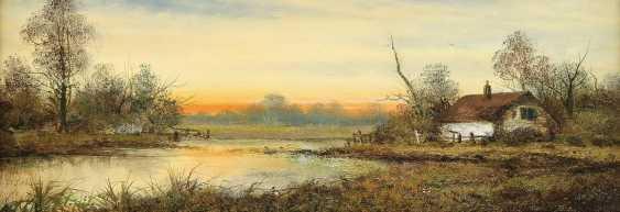 SCHLEICH W. Tätig 1. H. 20. Jahrhundert Sonnenaufgang vor stillem Gewässer - photo 1
