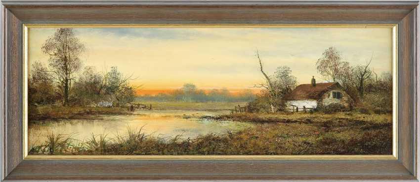SCHLEICH W. Tätig 1. H. 20. Jahrhundert Sonnenaufgang vor stillem Gewässer - photo 2