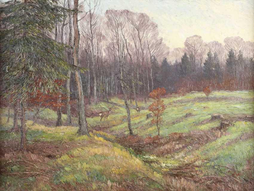 MAXIMILIAN KLEIN VON DIEPOLD 1873 Kassel - 1949 Dorndorf Rehe auf grüner Waldlichtung - photo 1