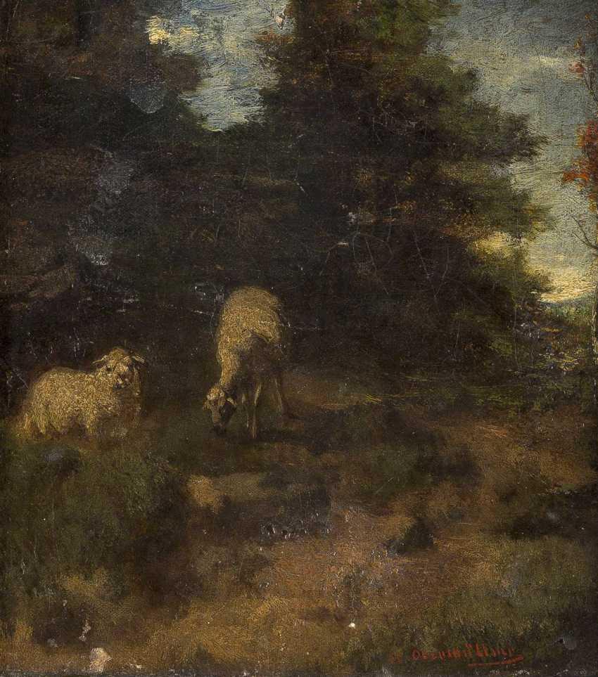 ADOLF OBERMÜLLNER 1833 Wels - 1898 Wien Landschaft mit Schafen - photo 1