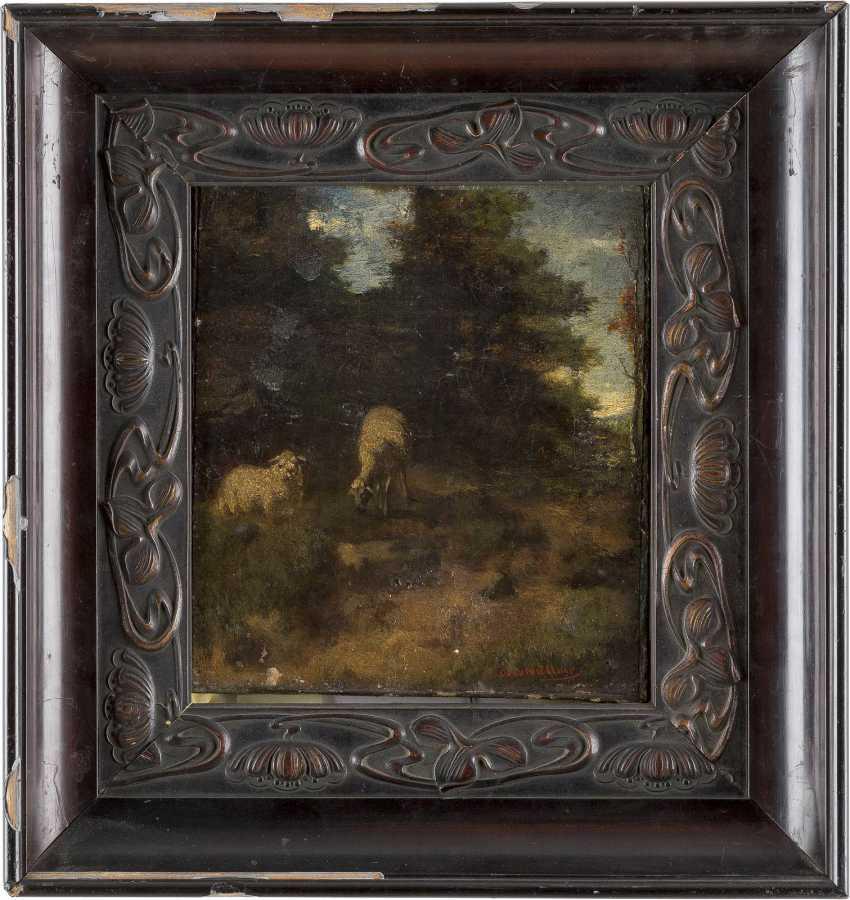 ADOLF OBERMÜLLNER 1833 Wels - 1898 Wien Landschaft mit Schafen - photo 2