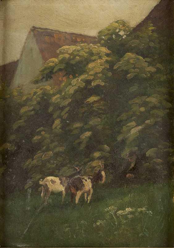 DEUTSCHER LANDSCHAFTSMALER Tätig um 1900 Hirte mit zwei Ziegen - photo 1