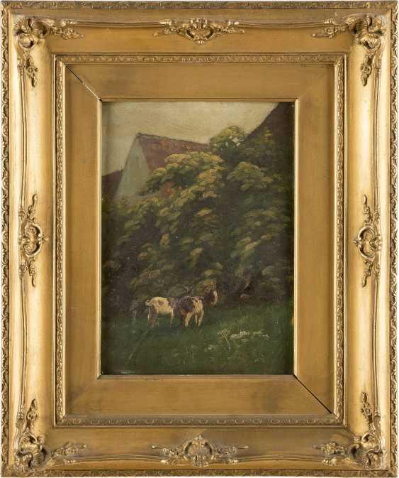 DEUTSCHER LANDSCHAFTSMALER Tätig um 1900 Hirte mit zwei Ziegen - photo 2