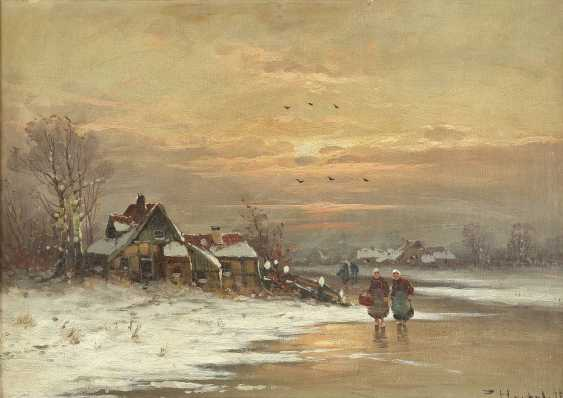 P. HERTEL Tätig 1. Hälfte 20. Jahrhundert Abendstimmung am Dorfweiher - photo 1